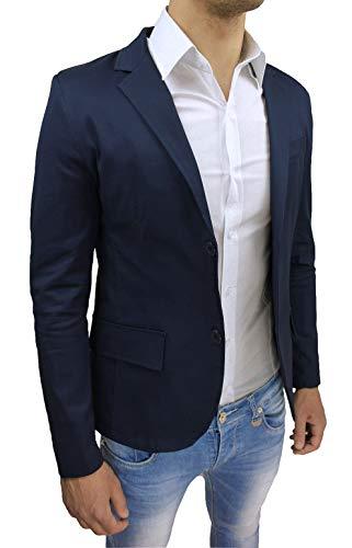 Evoga Giacca Uomo Estiva Blu Scuro in Cotone Blazer Formale Elegante Casual (S, Blu Scuro)