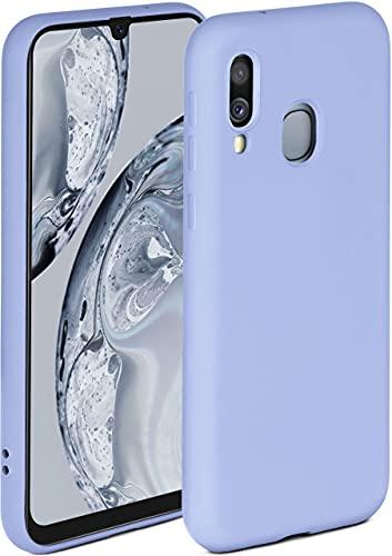 ONEFLOW Soft Case kompatibel mit Samsung Galaxy A40 Hülle aus Silikon, erhöhte Kante für Bildschirmschutz, zweilagig, weiche Handyhülle - matt Hellblau