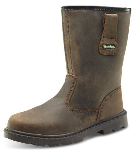 Click Workwear Men Leather Safety Rigger Work Boot In Brown Maat 6
