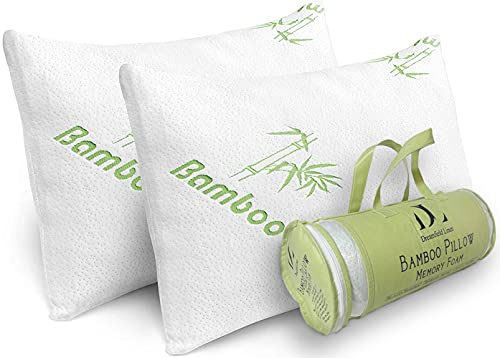 Bamboo Pillow for Sleeping - 2 Pack Cooling Shredded Memory Foam Hypoallergenic Pillows - Washable Cover with Zipper- Relives Neck Pain and Helps with...