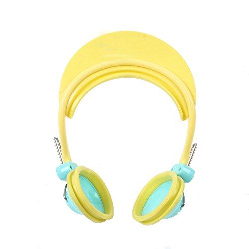 Isuper Cache-oreilles pour enfants - Shampoing bain protection pour oreilles et yeux - Réglable - Pour bébés à partir de 3 mois (jaune)