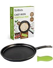 Tortillada - 26cm patelnia z żeliwa sezonowanego/patelnia + uchwyt na gorącą rączkę patelni + E-Book z 50 przepisami na tortille