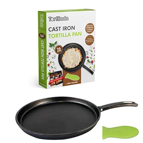 Tortillada - 26cm Pfanne aus Gusseisen für Tortillas - Pfannkuchen + Silikon Griff + E-Book mit 50 Tortilla Rezepten