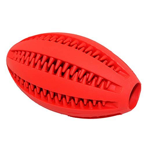 NAttnJf Haustier Hund Gummi Rugby Ball Katze Welpen Zähne Kauen Zahn Reinigung Lebensmittel Halter Spielzeug Rot