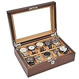 QHHALXZ Caja de Almacenamiento - Caja de Reloj de Madera Maciza Pura Caja de colección de Relojes Caja de Almacenamiento Caja de Pulsera con Techo corredizo de Vidrio