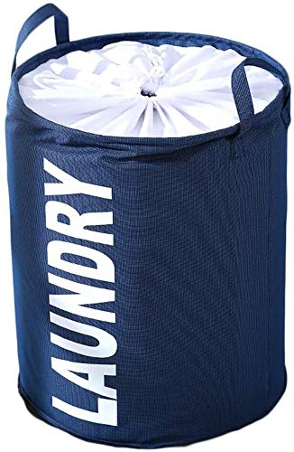 Feceyq Foldable Laundry Basket Collapsible Laundry Basket for Bedroom Round Canvas Storage Bin with Lids Cute Design Dirty Clothes Hamper with Durable Leather Handle Waterproof Inner Best Gift