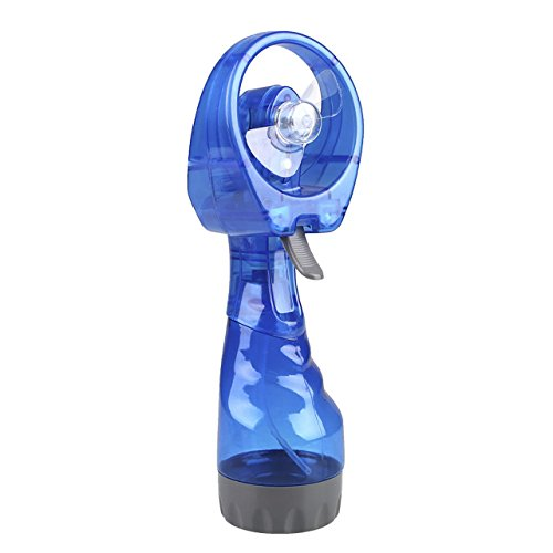 Mini ventilador de plástico de mano con pulverizador de agua a batería, refrigerador de niebla, portátil, de viaje Tamaño libre azul