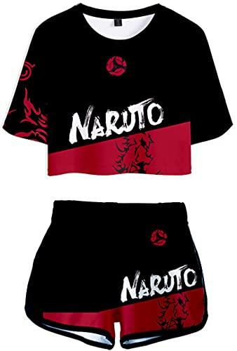 Silver Basic Naruto Camiseta y Pantalones Cortos de Chándal para Niñas Naruto Kakashi Cosplay Uniforme Japonés Anime Camiseta XS, 32Naruto Rojo-3