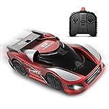 DEERC ラジコンカー こども向け 壁を走る 車 おもちゃ 室内 壁・天井・床 激走カー 赤外線コントロール プレゼント 贈り物 DE31(青赤) (赤)