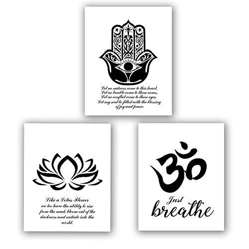 Homdeco - Juego de 3 impresiones artísticas de yoga (8' x 10', impresiones de flor de loto, impresiones de símbolos de Om, arte Zen inspirador, arte en blanco y negro Mehndi Yoga Artwork, sin marco