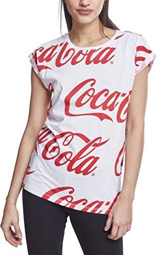 MERCHCODE Coca Cola Damen T-Shirt Ladies AOP Tee mit Logo-Print white, S