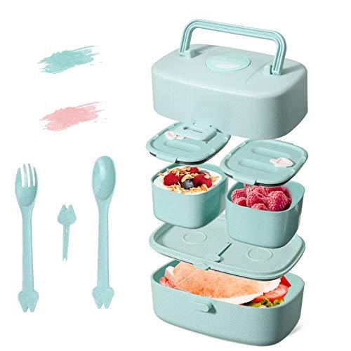 Godmorn Lunch Box, Fiambrera Compartimentos con asa, bento Box Infantil con 3 Compartimentos, Apto para lavavajillas, sin BPA, Paja ecológica, 860ml Caja de Bento (Azul)