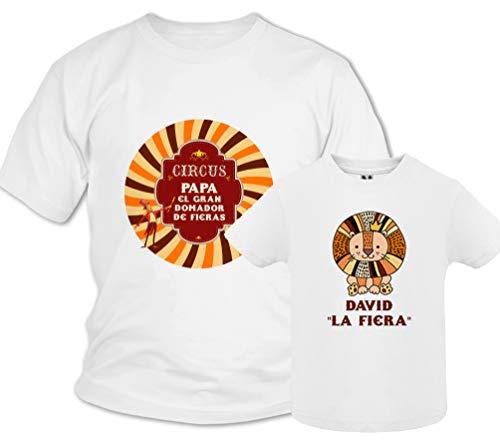 Regalo día del padre camiseta papá personalizada + Body o camiseta hijo/a Estilo Circo Domador de Fieras, conjunto familia, regalos originales para hombre