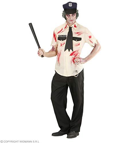 Halloweenia - Herren Männer Zombie Polizist Kostüm mit blutiges Hemd, Hosen, zerfetzte Krawatte, Hut, perfekt für Karneval und Halloween, M, Schwarz