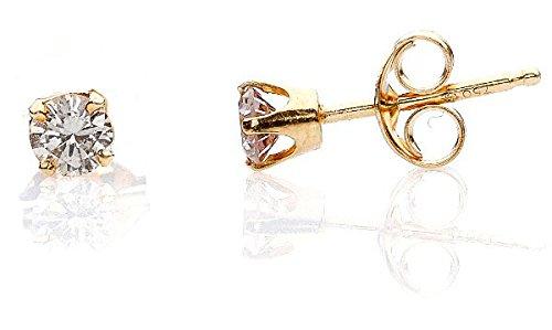 BASIC-Orecchini da donna con diamanti, in peso: diamante 0,3 carati, leggero, colore: sfumature 'champagne, purezza: P2-montate su passeggini oro giallo 750, 18 carati www.diamants-perles.com