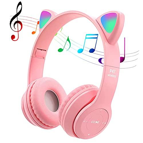 POTIKA Fone De Ouvido Bluetooth 5.0 Sem Fio, Fone De Ouvido Lindo Em Forma De Orelha De Gato, Cancelamento De Ruídos Sobre Os Fones De Ouvido, Fone De Ouvido Esportivo Com Luz Led Piscando, Rosa