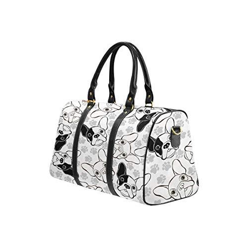 InterestPrint Travel Duffel Bag Waterproof Overnight Bag Weekend Carryon Handbag French Bulldog