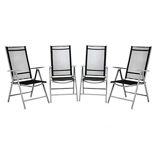 Nexos 4er Set Klappstuhl Komfortbreite Hochlehner Gartenstuhl Campingstuhl Liegestuhl – Sitzmöbel Garten Terrasse Balkon – Stuhl aus Aluminium - schwarz