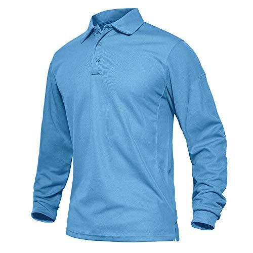 EKLENTSON Herren Oberhemd Wandershirt Sweatshirt Arbeitssweatshirt Golf Sport Polo Shirts, Himmelblau