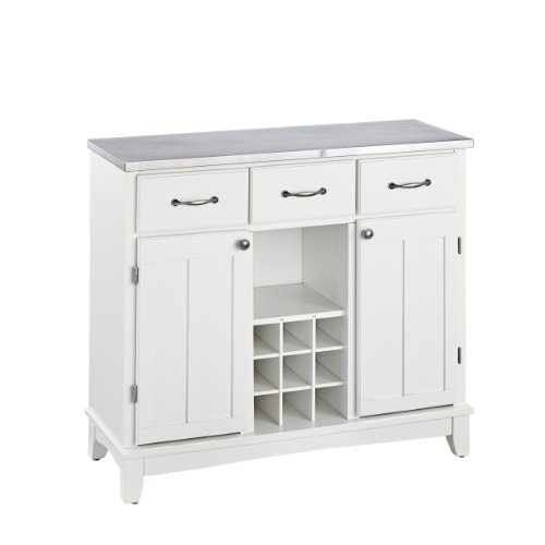 Home Styles Buffet of Buffets White Server with Stainless Steel Top