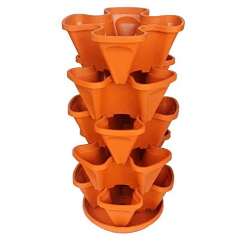 tJexePYK 5 Nivel Planter apilable Tiesto Naranja Fresa plantador Crisol con Bandeja en Forma de Flor Macetas para,jardinería Vegetal Fresa