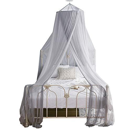 6 Farben Moskitonetz Universalgröße Romantische runde Kuppel Vorhang Bett Baldachin Spitze Zelt Bettwäsche Mückenschutz,Gray