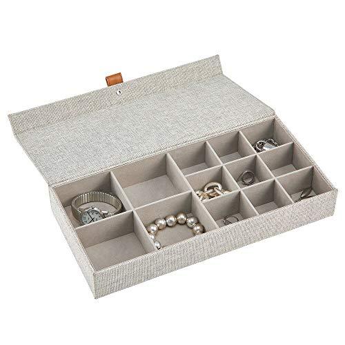 mDesign Joyero – Caja con tapa con 13 compartimentos de tela en 2 tamaños diferentes – Cajas organizadoras para pendientes, collares, pulseras, anillos y relojes – gris claro