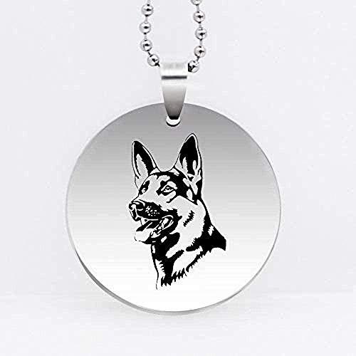 Liuqingzhou Co.,ltd Collar con Colgante de Perro Pastor alemán con Personalidad de Acero Inoxidable, joyería para Perros, Regalo para Mujeres y niñas