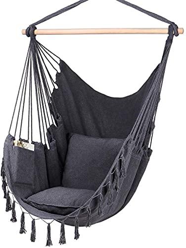 Oneplix Hängesessel 2 Kissen & Bücherfach - XXL Hängestuhl für Erwachsene & Kinder - Belastbar bis 150 kg - Hängesitz für Indoor & Outdoor (Wohn & Schlafzimmer, Garten) Hanging Chair