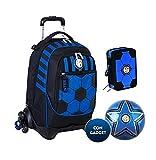 Mochila escolar F.C. Inter de 3 ruedas con mochila desmontable de la colección Seven + estuche de 3 cremalleras completo Cross&Go + balón y llavero de fútbol