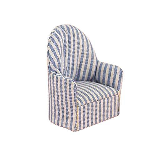 lahomia 1/12 Dolls House Miniaturen Moderner Sitz Sessel Sofa Sofa Blauer Streifen