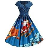 Xiangdanful 1950er Vintage Petticoat Hepburn Kleid Weihnachten Kleider Rock Damen Rockabilly Cocktailkleid Abendkleid Wickelkleid Christmas Weihnachtskleid Swing Kleid Faltenrock (M, A-Blau)