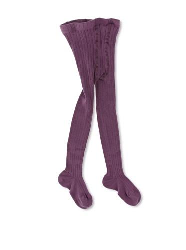 Panty's, geribbeld, aubergine - 00
