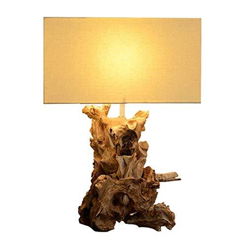 Lámpara de mesa Led Tabla de madera natural de la lámpara del arte hecho a mano dormitorio Estudio lámpara de cabecera de la sala lámpara de escritorio de pantalla de la tela rectangular de alta 22 Pu