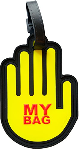 Hand Neon Fluorescent 3-D Luggage Tag Large Heavy Duty ID Travel Bag Tag with Hidden Address Compartment (Neon Yellow)