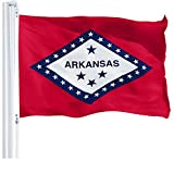 G128 – Arkansas State Flag | 3x5 feet | Printed 150D – Indoor/Outdoor, Vibrant Colors, Brass Grommets, Quality Polyester, Much Thicker More Durable Than 100D 75D Polyester