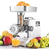 STX Megaforce Platinum Series Patented Air Cooled - 2 In 1 - Slow Masticating Juicer & Electric Meat Grinder with Foot Pedal. A Heavy Duty Unique Masticating Juicer & Powerful Electric Meat Grinder