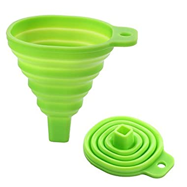 Leaton Silicone Collapsible Funnel Foldable Funnel for Liquid Transfer 100% Food Grade Silicone (Green)