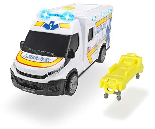 Dickie Toys 203713012 Iveco Daily Ambulance, Krankenwagen, Rettungswagen Trage, Spielzeugauto, zu öffnende Hecktür, Licht & Sound, inkl. Batterien, 18 cm, ab 3 Jahren, weiß