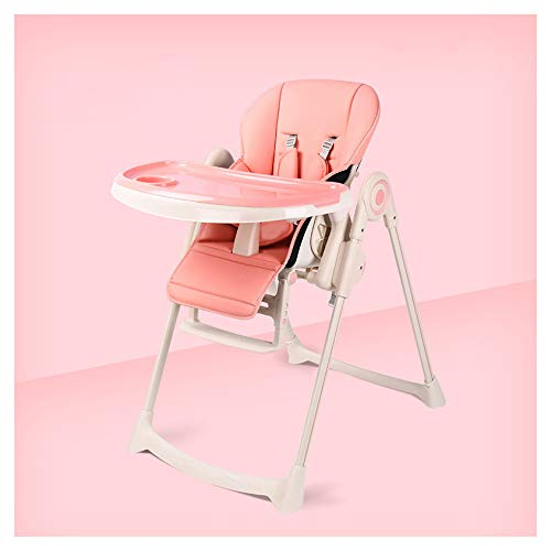MMYYIP Baby hoge stoel, de stoel opvouwbaar leer met vier wielen, een in hoogte verstelbare 7, een tafel ligstoel stoel stoel kussen 5-punts harnas en verwijderbare lade