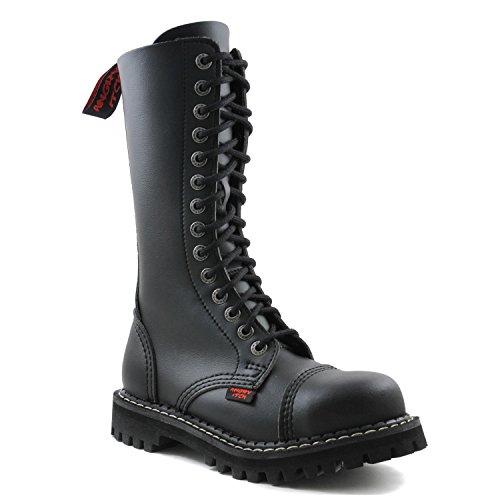 ANGRY ITCH - 14-Loch Gothic Punk Army Ranger Armee Schwarze vegane Stiefel mit RV & Stahlkappe 36-48 - Made in EU!, EU-Größe:EU-44