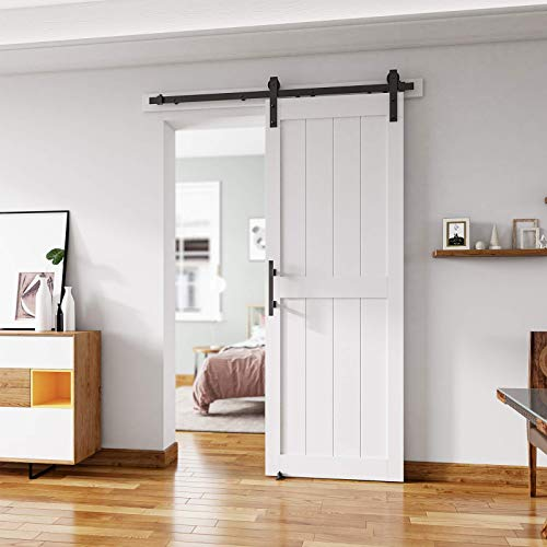 ALAMEDADT 30'' x84'' Sliding Barn Door Kit with 5 Ft Barn Door Hardware Kit, MDF, Solid Core, Combined with Handle and Floor Guide-Assembly Required-Include Installation Manual, H Shape, White