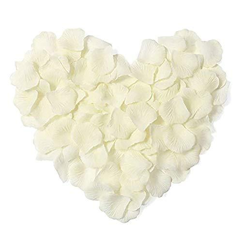3000Pcs Petale de Rose,Artificielle pétales de Rose pour Arts Artisanat, pour Mariage confettis, décoration pour Saint Valentin, Douche Nuptiale ou fiançailles, Romantique événement (Blanc Laiteux)