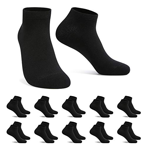 FALARY Sneaker Socken Damen Herren Sneakersocken Kurze 10 Paar Baumwolle Atmungsaktive Halbsocken Unisex, 43-46, 10x Schwarz