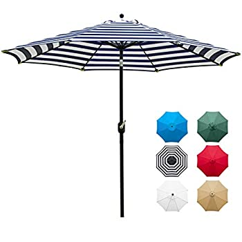 Sunnyglade 9  Patio Umbrella Outdoor Table Umbrella with 8 Sturdy Ribs  Blue and White