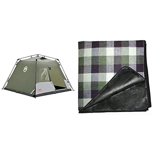 Coleman Tent - Green/White & Tent Carpet 230 x 230 cm