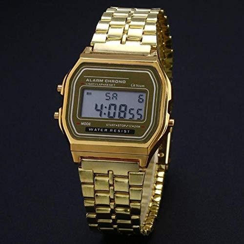 Finew Mann Edelstahl Band LCD Digital Armbanduhr Sport Quadrat Quarz Uhren Armbanduhren