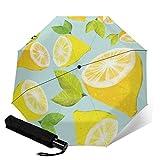 #lemon #pattern#レモン#パターン 自動三つ折り傘折りたたみ傘 自動開閉 頑丈な12本骨 メンズ 台風対応 梅雨対策 大きい 超撥水 おりたたみ傘 高強度グラスファイバー ビッグサイズ 晴雨兼用 収納ポーチ付き As Shown One Size