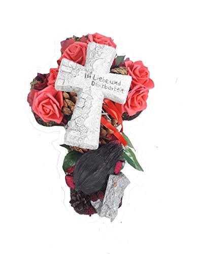 Grabgesteck Kreuz mit Rosen, Grabschmuck, Allerheiligengesteck, Trauerfloristik, Trauergesteck