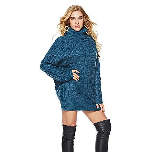 Dames Losse Oversized Coltrui Wol Lange Trui Jurk Casual Effen T-Shirt Plus Size Lange/Lange Mouw Tuniek Topjes Ronde hals Losse Comfy Tops
